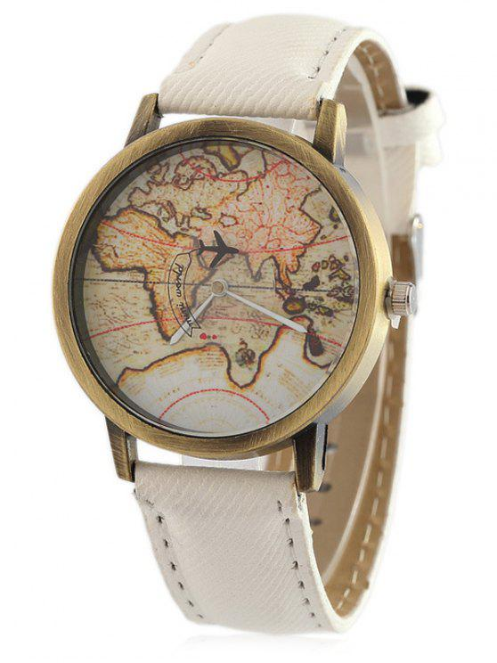 Faux Leather Map Quartz Watch RED WHITE