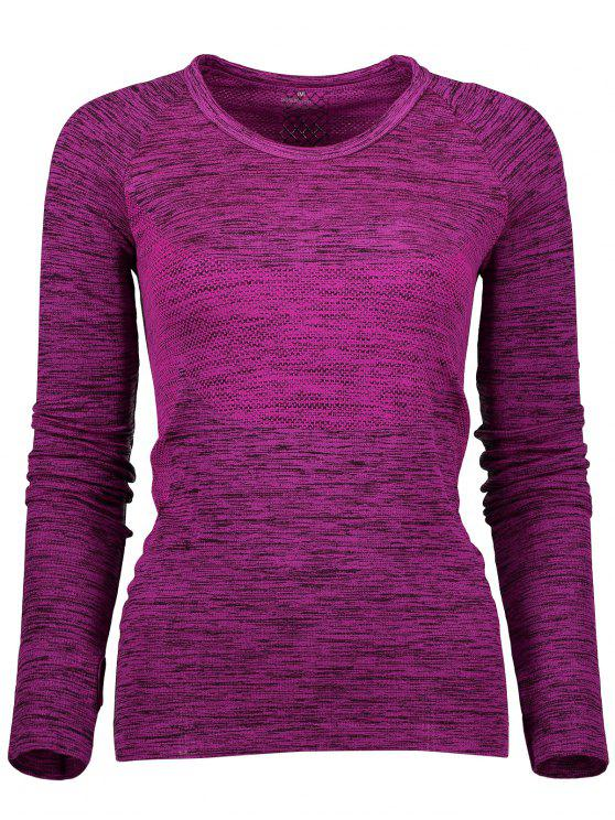 chic Long Sleeve Space Dye Running Top - PURPLISH RED L