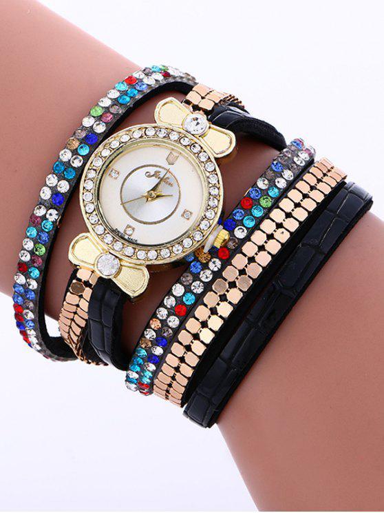 shops Layered Studded Analog Bracelet Watch - BLACK