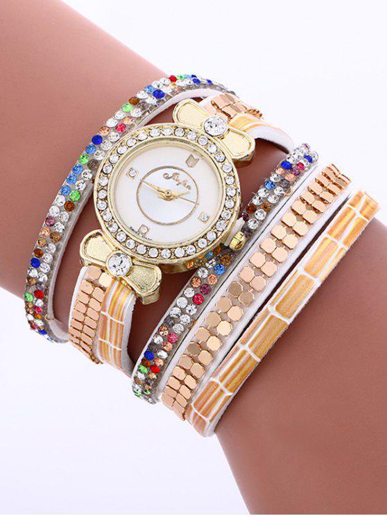Tachonado capas pulsera de reloj analógico - Blanco