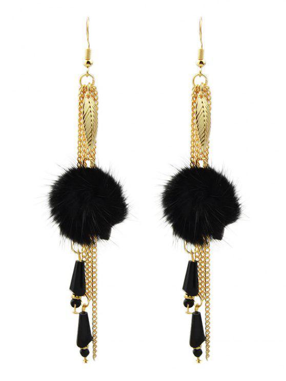 affordable Fuzzy Ball Leaf Chain Earrings - BLACK