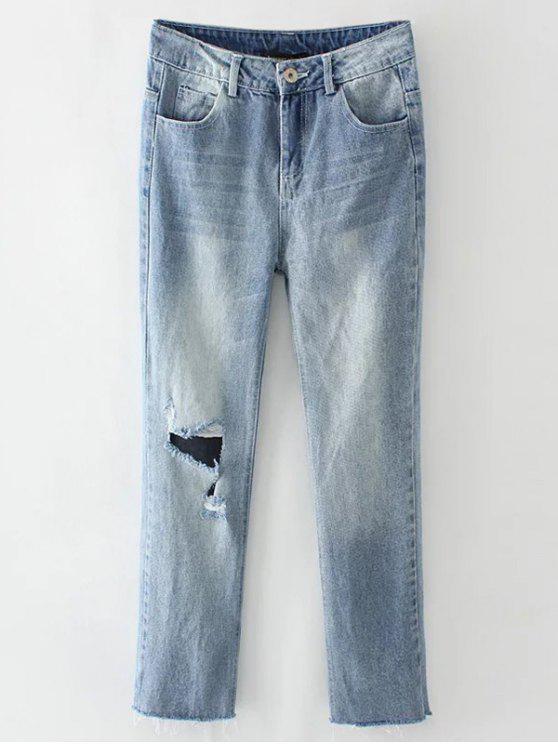 affordable Light Wash Distressed Denim Pants - LIGHT BLUE M