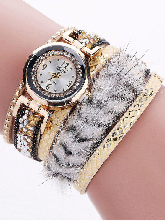 shops Layered Studded Faux Fur Bracelet Watch - YELLOW