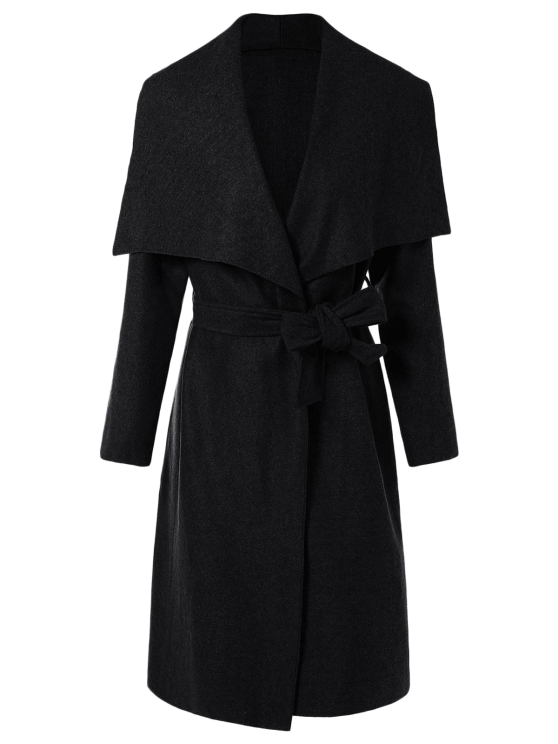 outfit Tie Waist Shawl Collar Wrap Coat - BLACK XL