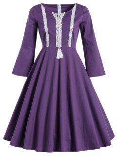 Bell Sleeve Front Tie Full Dress - Purple M