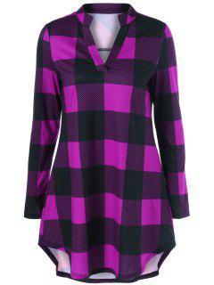 Split Neck Long Plaid Boyfriend T-Shirt - Violet Rose M