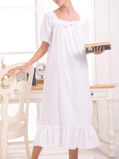 Short Sleeve Lace Insert Midi Sleep Dress - White S