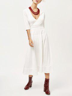Low Cut Tea Length A Line Dress - White S