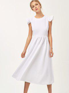 Robe Longue Plissée à Mancheron - Blanc S
