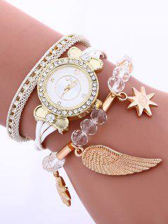 Layered Rhinestone Beaded Wing Bracelet Watch - White