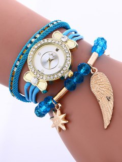 Layered Rhinestone Beaded Wing Bracelet Watch - Azure
