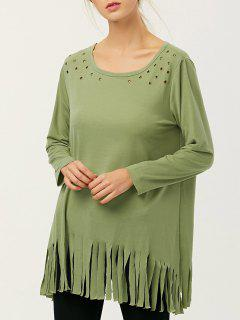 Fringe Rivet Hole Loose T-Shirt - Pea Green M