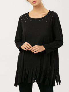 Fringe Rivet Hole Loose T-Shirt - Black M