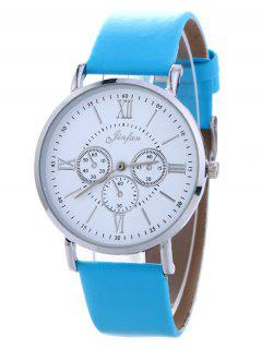 Faux Leather Roman Numeral Analog Watch - Blue
