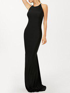 Criss Cross Ruched Trumpet Maxi Dress - Black S