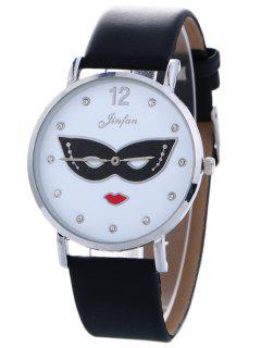 Rhinestone Mask Faux Leather Quartz Watch - Black
