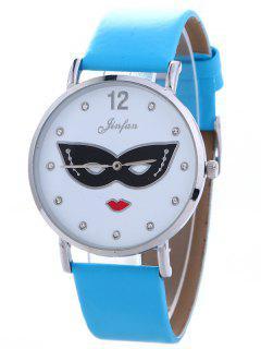 Rhinestone Mask Faux Leather Quartz Watch - Blue