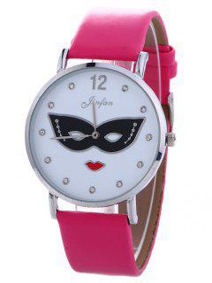 Rhinestone Mask Faux Leather Quartz Watch - Tutti Frutti