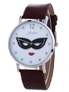 Rhinestone Mask Faux Leather Quartz Watch - Brown