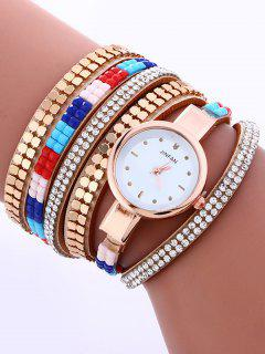 Layered Studded Bracelet Watch - Light Camel