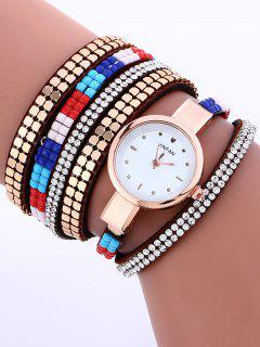 Layered Studded Bracelet Watch - Brown