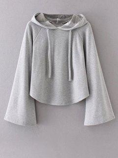 Slouchy Flare Sleeve Pullover Hoodie - Gray M