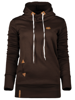 Badge Patch High Neck Drawstring Hoodie - Coffee S