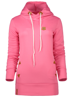 Badge Patch High Neck Drawstring Hoodie - Rose Red S