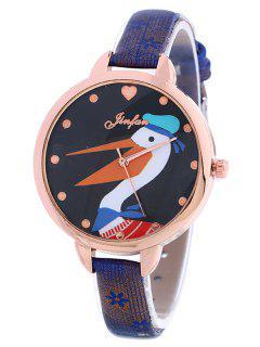 Faux Leather Swan Quartz Watch - Blue