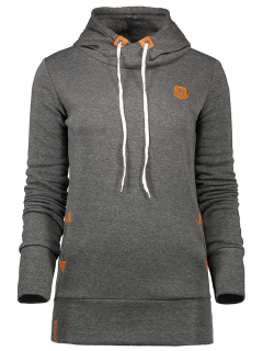 Badge Patch High Neck Drawstring Hoodie - Deep Gray L