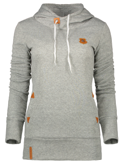 Badge Patch High Neck Drawstring Hoodie - Light Gray M