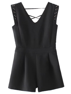 Studded Sleeveless Romper - Black S