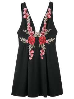 Floral Applique Low Cut Mini Dress - Black L