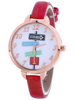 Faux Leather Guidepost Pattern Quartz Watch - Red