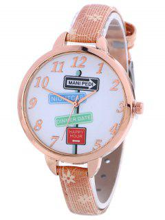 Faux Leather Guidepost Pattern Quartz Watch - Pink
