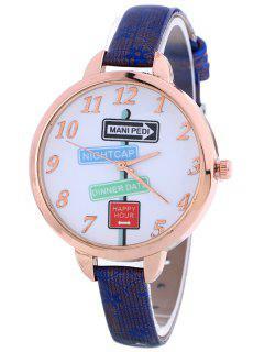 Faux Leather Guidepost Pattern Quartz Watch - Blue