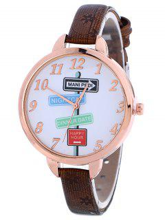 Faux Leather Guidepost Pattern Quartz Watch - Brown