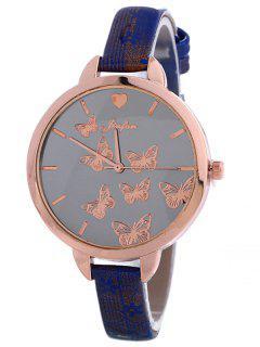 Faux Leather Butterfly Quartz Watch - Blue