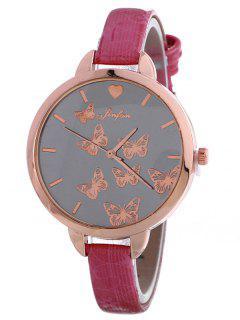 Mariposa De Imitación De Cuero Reloj De Cuarzo - Cientos De Fructosa