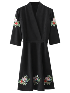 Back Tied Floral Embroidered Surplice Dress - Black L