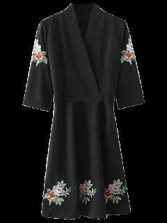 Zurück Gestickten Blumen Meßhemd Kleid Gebunden - Schwarz M