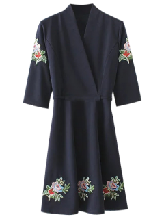 Back Tied Floral Embroidered Surplice Dress - Purplish Blue M