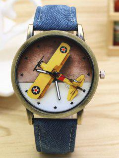 Cartoon Airplane Quartz Watch - Blue