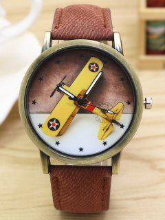 Montre En Quartz Imprimée D'avion Avec Bracelet En Cuir Faux - Café