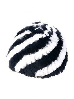 Wrasse Rabbit Hair Striped Hat - Black