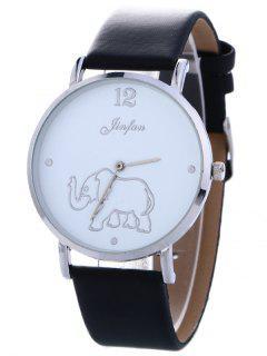 Faux Leather Elephant Quartz Watch - Black