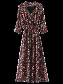 Imprimió El Vestido Maxi Cuello V - Multicolor M