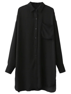 Button Up Tunic Pocket Shirt Dress - Black L