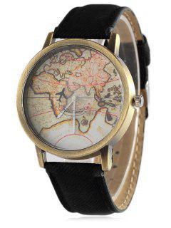 Faux Leather Map Quartz Watch - Black
