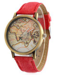 Faux Leather Map Quartz Watch - Red